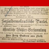 Mit dieser Anzeige wirbt die SPD Anfang 1919 für eine Versammlung